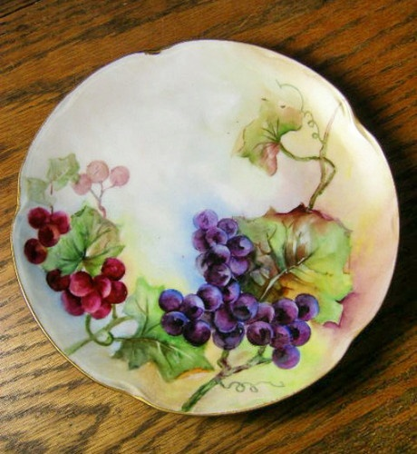Antique Hand Painted Bavarian Plate Red and Purple Grapes C. 1902