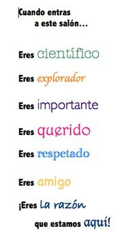 Great poster for a bilingual class!