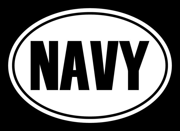 """NAVY Euro Oval Decal Military Sticker, Cut Vinyl Decal, Car Decal - 5""""L X 3.5""""H"""