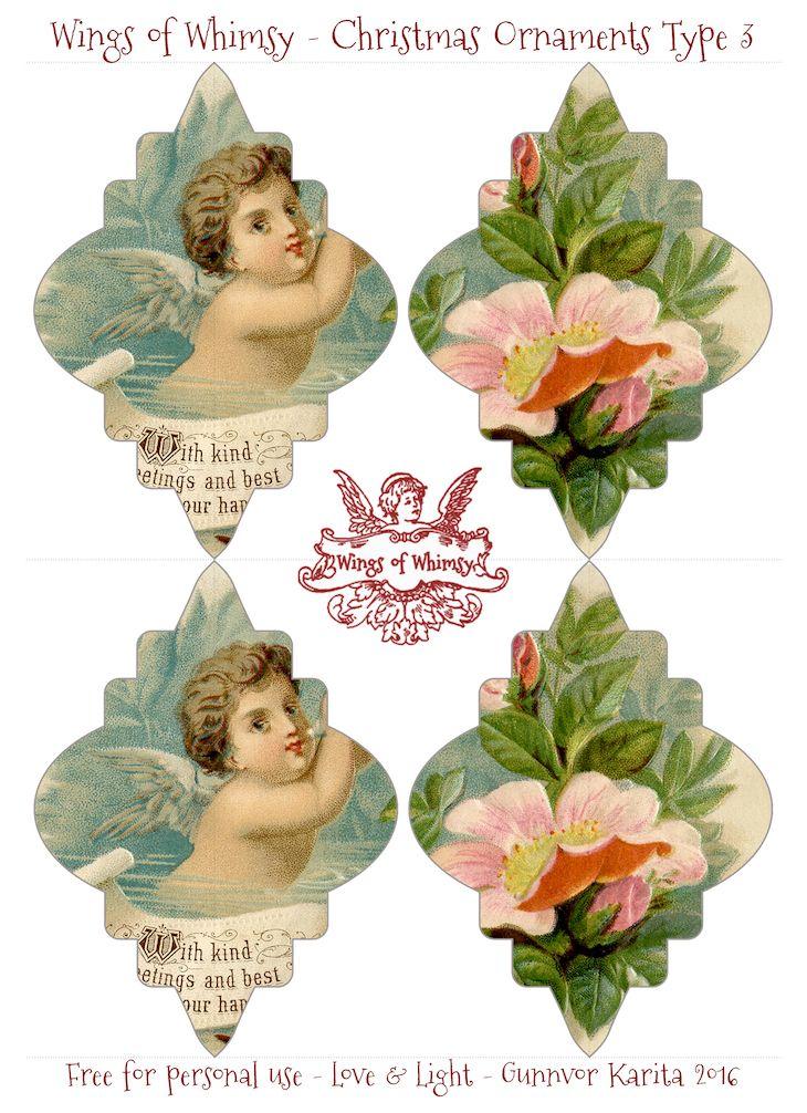 Vintage Christmas printable ornaments