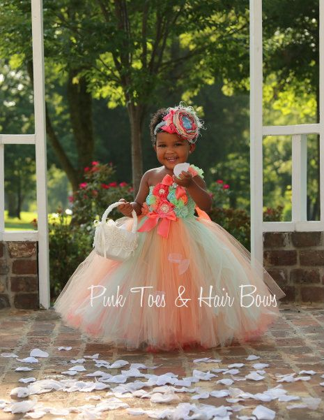Mint Coral and peach Flower girl dress Mint Coral by GlitterMeBaby, $95.00