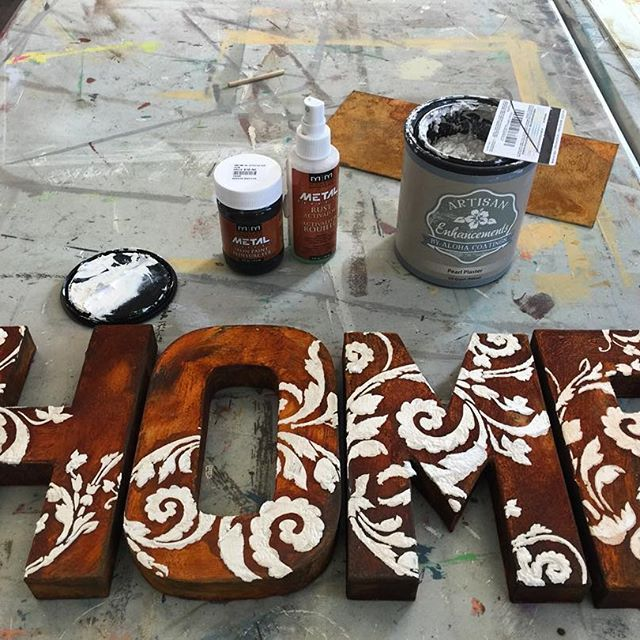 Metal Effects Rust Finish was used to help create these rusty paper mache letters with a stenciled design by The Painted Bench Hamilton