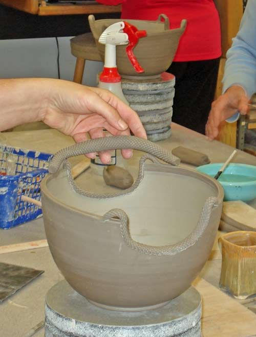 Advanced ceramics with textured handles from Lakeside Pottery  Can't throw the bowl, sure can do the handles!