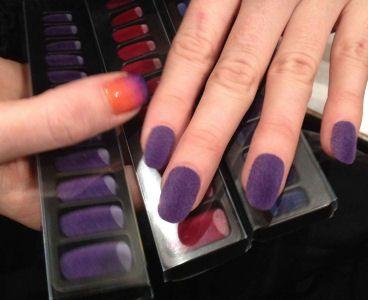 DIY: Get Velvet Nails In 3 Easy Steps!: Makeup Nails, Nails Hands, Nails Nails, Style Nails, Velvet Nails Se, Artsy Nails, Purple Velvet, Nails Polish, Velvet Nailss