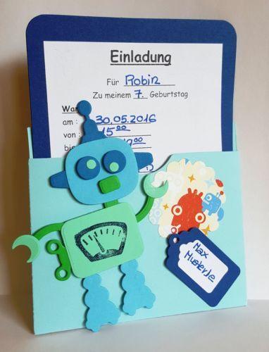 *Kartengestaltung*Einladung*Geburtstag*Scrapbooking*Basteln*Kinder*Marianne-Design-Collectables-Roboter-COL1403-Stanzschablone-Stempel-Robot