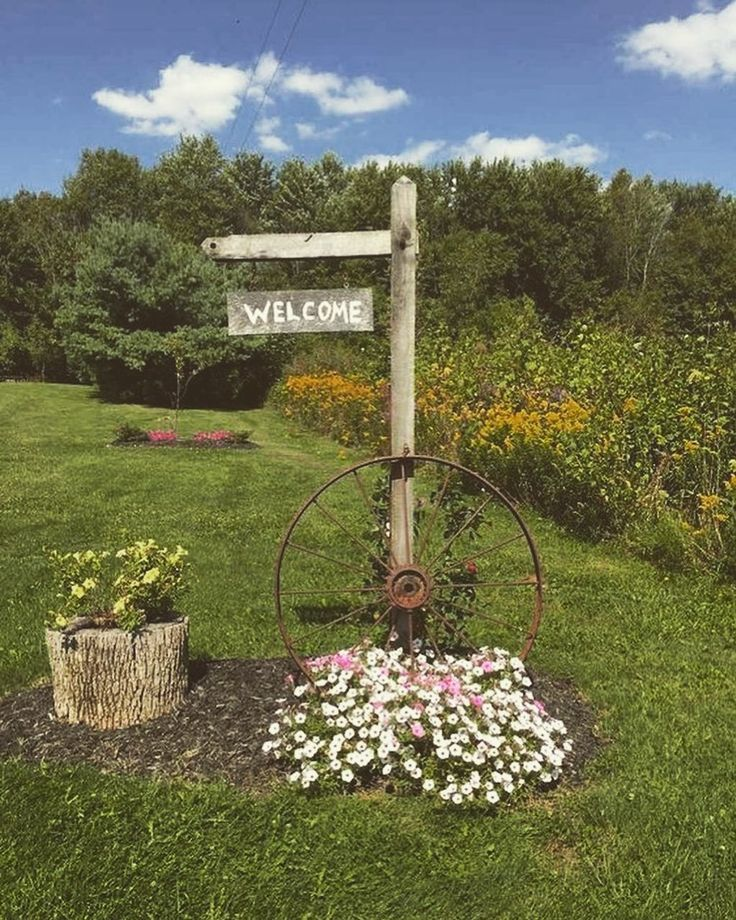 Diy Welcome Sign Plants Greenhouse Campfire Landscaping Campfire Greenhouse Garden Yard Ideas Backyard Garden Landscape Small Front Yard Landscaping