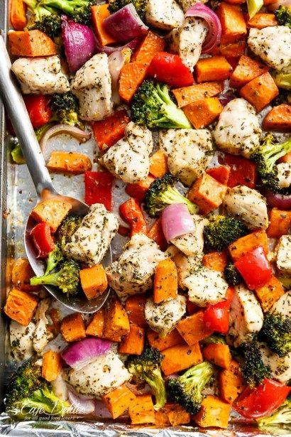 Garlic Herb Chicken & Sweet Potato Sheet Pan Meal Prep - Cafe Delites