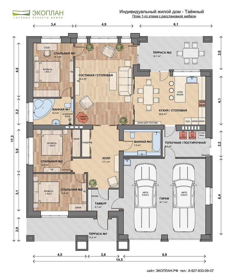 61 best European floor plans images on Pinterest House design - plan maison plain pied 200m2