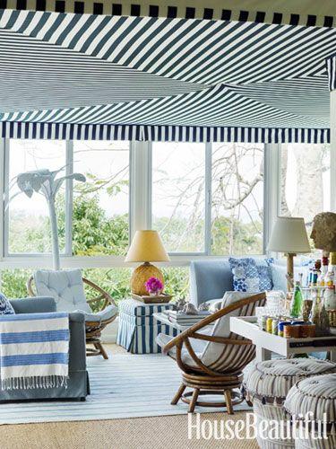 Love this ceilingDecor, House Beautiful, Beach House, Sunrooms, Sun Porches, House Interiors, Design, Sun Room, Blue And White