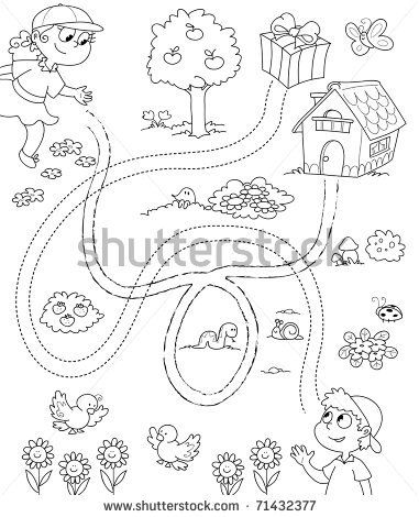 Black and white game for children: a boy and a girl have to follow the right way. - stock photo