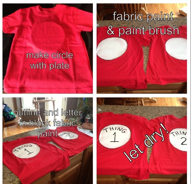 Made these for my daughters for Dr. Seuss week at school very simple! Red T-shirts white fabric paint paint brush black fabric paint.  Step one place a plate under the shirt Step two take the white fabric paint and paint with the paintbrush the shape of the plate let dry for 15 mins and go over it two more times Step three outline the circle with the black fabric paint and then right thing 1and thing 2 with black fabric paint and let dry for 48 hours  Do not wash for 72 hours
