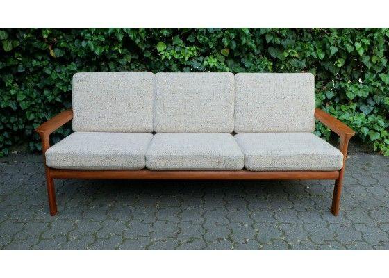 Fresh Mid Century Teak Sofa mit Textilbezug von Komfort M bel uac auf