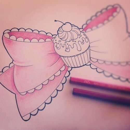 Cute Bow Tie Drawing drawing a bow-cupcake!...
