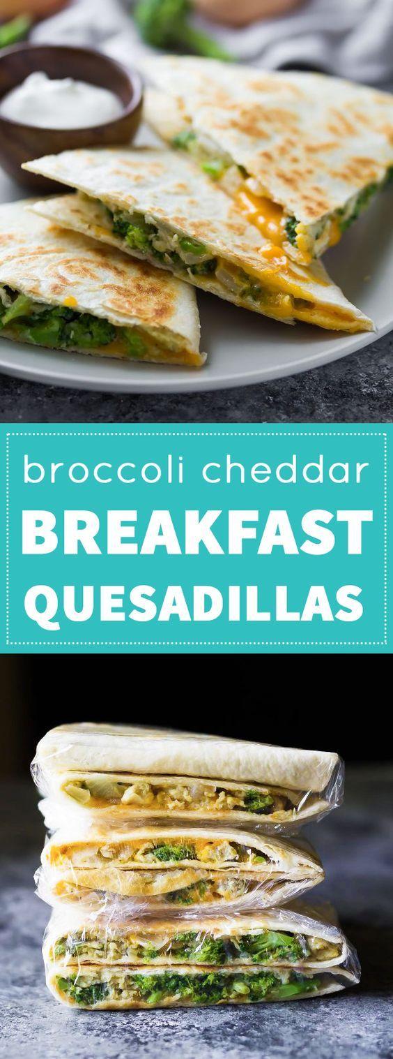 Broccoli Cheddar Breakfast Quesadillas | Recipe