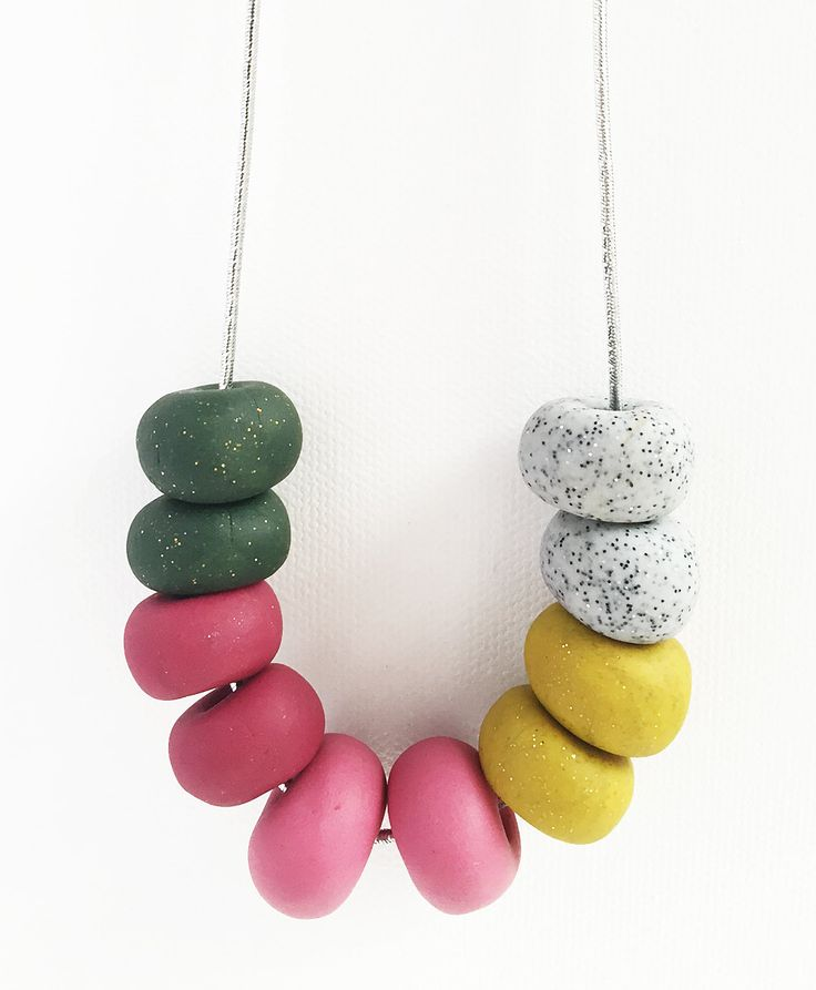 SALLY -  10 Bead Polymer Clay Necklace with Silver Cord by HenandSole on Etsy