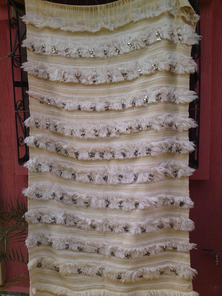 Vintage Moroccan Handira Wedding Blanket Throw Rug
