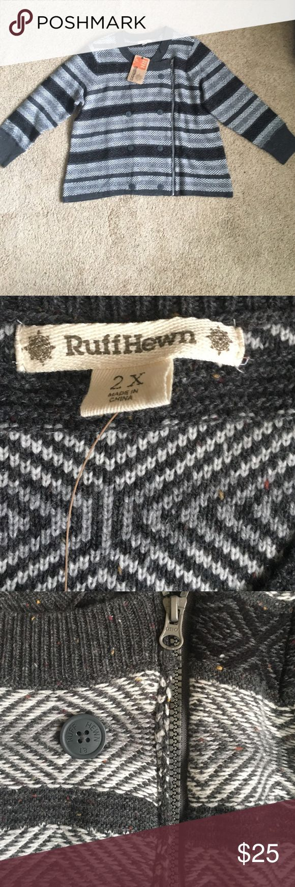 Flash Sale! Cute zip up  accent sweater New with tags. Perfect for the holidays and really warm for the winter. Brand is RuffenHewn. Allergy Alert * I have 2 cats and am an occasional smoker*. Tops Sweatshirts & Hoodies