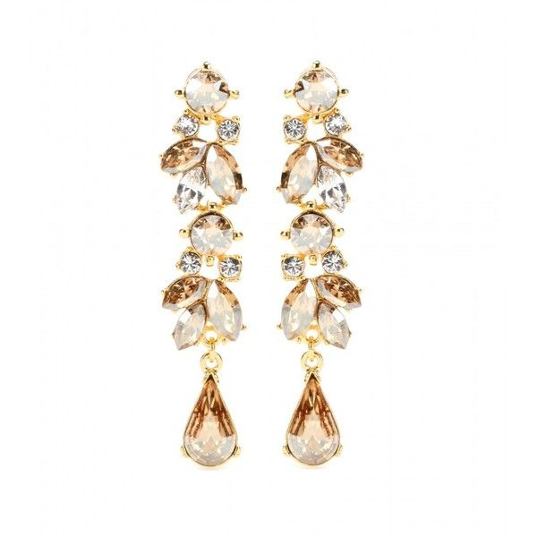 Ben-Amun Crystal-Embellished Earrings (€150) ❤ liked on Polyvore featuring jewelry, earrings, accessories, brincos, joias, gold, gold jewelry, ben amun jewelry, gold earrings and gold jewellery