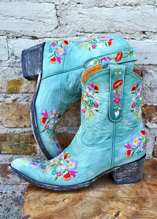 Old Gringo Turquoise Sora Boot. Turquoise flowers!