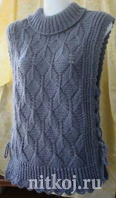 Безрукавка – пончо на завязках » Ниткой - вязаные вещи для вашего дома, вязание крючком, вязание спицами, схемы вязания