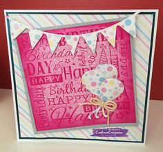 8x8 card made with Sara Signature Birthday Party Collection. Designed by Pauline Orr #crafterscompanion