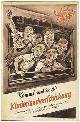 """Sending children to the countryside"" a German propaganda poster for World War 2."