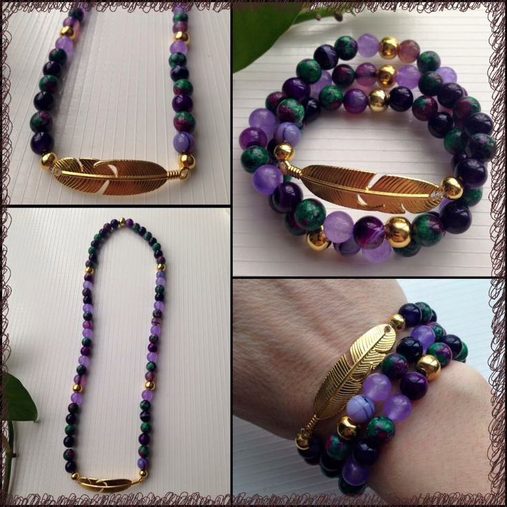 """ITEM: Feather Wrap Bracelet (stretch) STONES: Ruby in Zoisite, Banded Agate and Alexandrite 8mm beads LENGTH: about 22.5""""  https://m.facebook.com/JediJewellery/"""