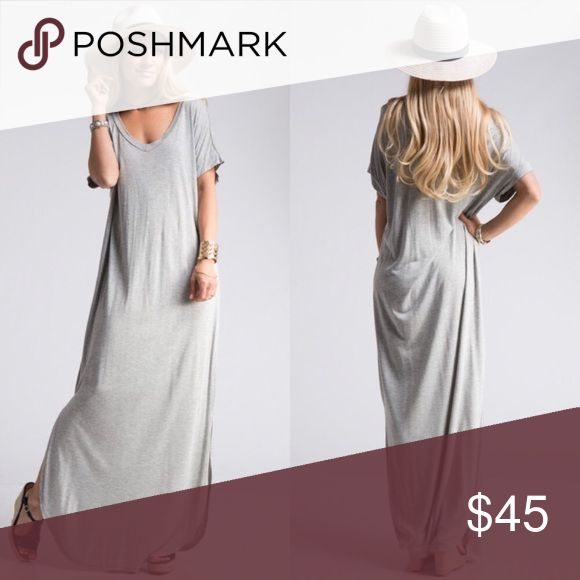Heather Gray Maxi Dress Must add for Spring/Summer.  Heather gray maxi dress has short dolman sleeves with curved hem.  Material:  96% rayon, 4% spandex. Dresses