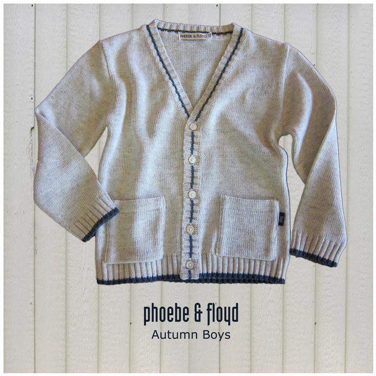 Oatmeal & Blue Cotton Blend Knit Cardigan