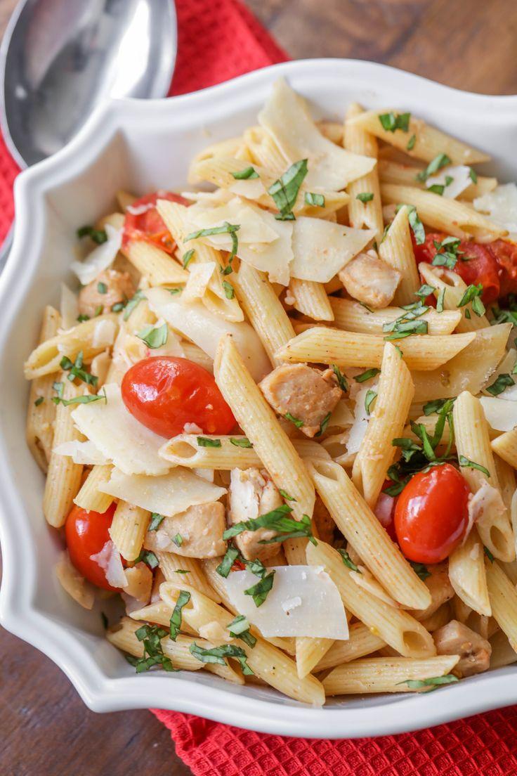 Chili tomato basil chicken pasta recipe