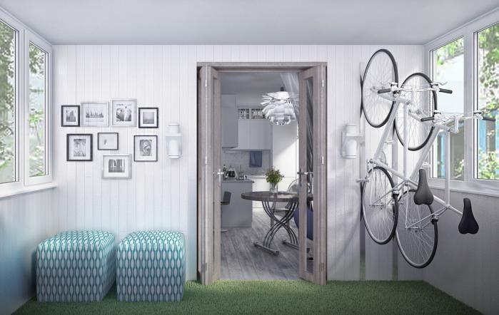 Планировка маленькой квартиры, декор балкона, хранение велосипедов спортинвентаря