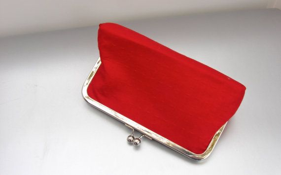 Red Clutch Purse- Evening Clutch Bag- Red Party Clutch- Women's Clutch Purse- Fabric Purse