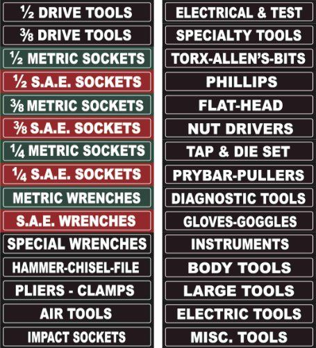 Get It Now Adjustable Magnetic Toolbox Labels Fits All