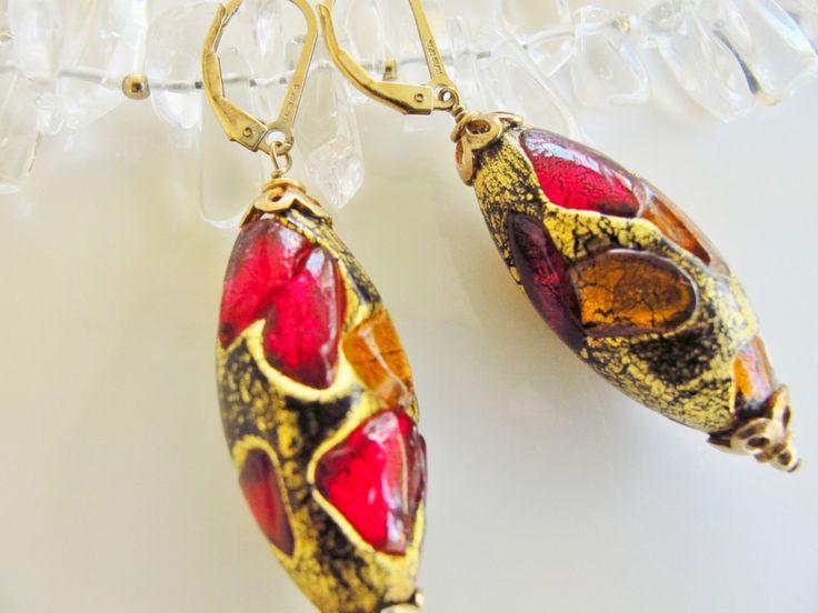 Murano Glass Earrings-Special Christmas Gift-My Love Italy Earrings- Drop Earrings, Special Gift for Her-Custom Jewelry-Red Earrings by ClassyTouchByValia on Etsy