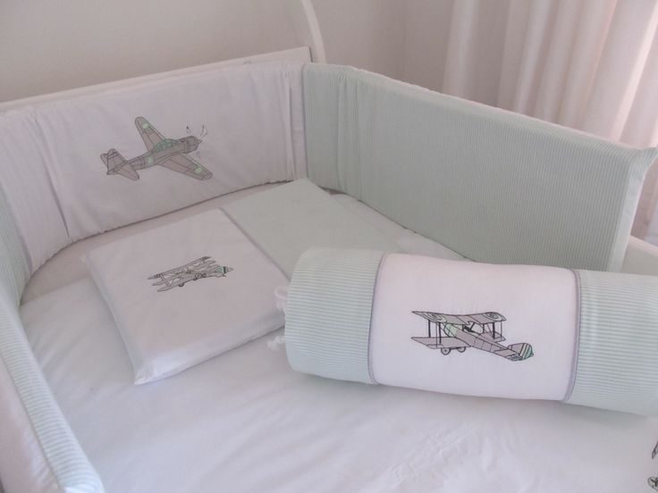 Vintage Planes in a Mint / grey colour scheme  Linen made by Lollipop Décor - www.lollipopdecor.co.za  Find us on Facebook - https://www.facebook.com/Babylinen