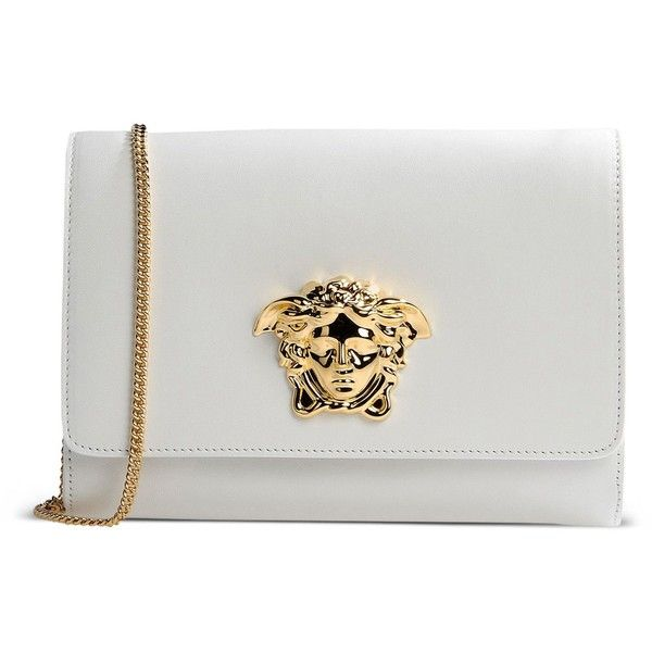 Versace Clutch found on Polyvore featuring bags, handbags, clutches, purses, white, versace purses, genuine leather purse, versace, real leather purses and white clutches