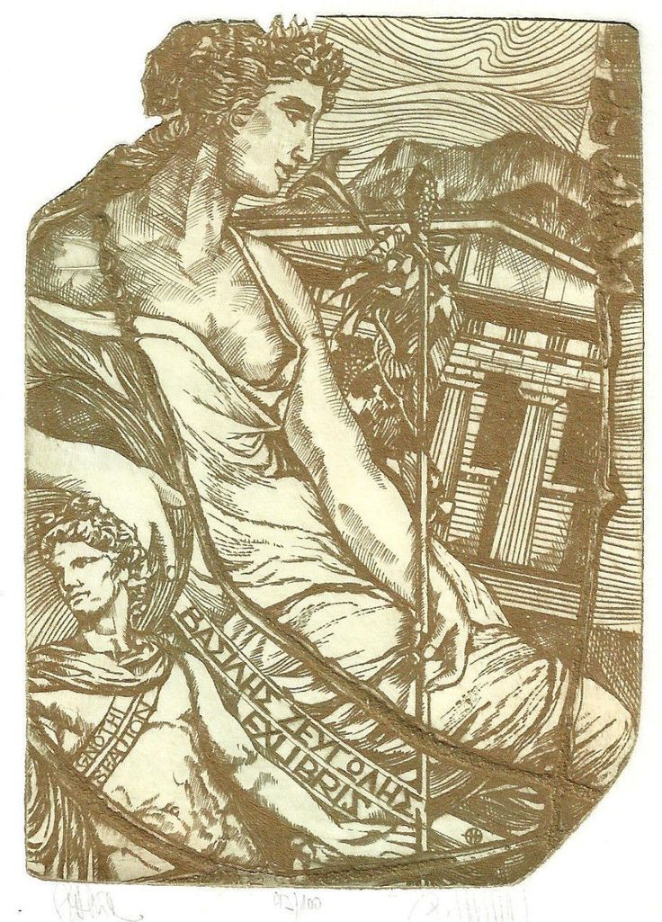 Greichenland Erotik Exlibris Pavel Hlavaty / Greek Erotic Nude sign Etching C3 | eBay