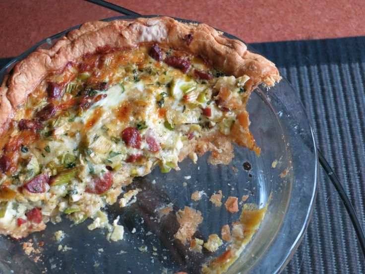 portuguese sausage and leek quiche from socialpotatochips com and a ...