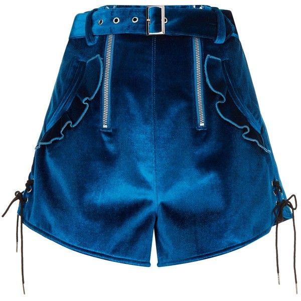 Self-Portrait Velvet Ruffle Shorts ($260) ❤ liked on Polyvore featuring shorts, 1980s shorts, frilly shorts, ruffle trim shorts, flounce shorts and royal blue shorts