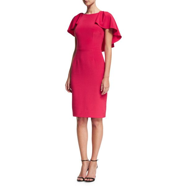 David Meister Capelet Sheath Cocktail Dress (€415) ❤ liked on Polyvore featuring dresses, rose, pink sheath dresses, sheath dress, rose pink dress, david meister dresses and back zipper dress