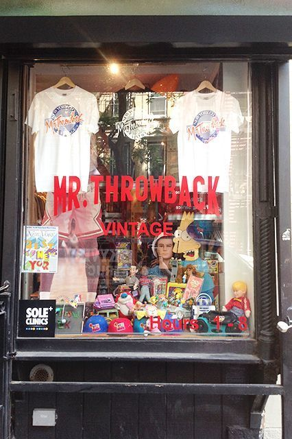 Mr. Throwback If the name isn't already an obvious giveaway, Mr. Throwback is all about '80s and '90s nostalgia. Here, you'll find racks upon racks of sports jerseys, shorts, and sweatshirts — with an endless supply of snapback caps and Nike Air Jordans to match.  Mr. Throwback, 428 East 9th Street (near Avenue A); 646-410-0310.