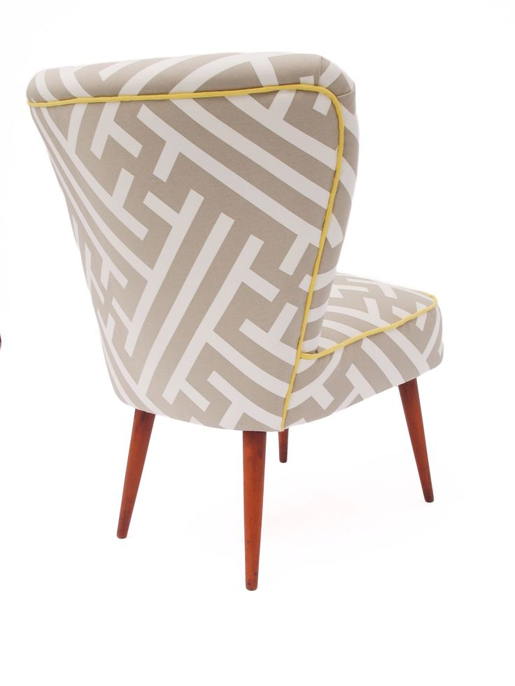Our Genovesa chair in Grand Bhutan Lattice with a gorgeous yellow trim from Bute fabrics!