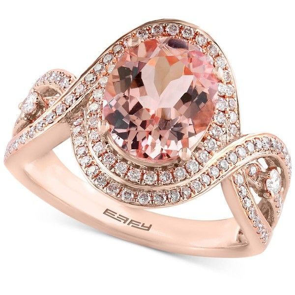 Blush by Effy Morganite (2-1/3 ct. t.w.) and Diamond (1/2 ct. t.w.)... ($4,800) ❤ liked on Polyvore featuring jewelry, rings, rose gold, oval cut diamond ring, pink gold diamond rings, oval stone ring, 14k diamond ring and diamond rings