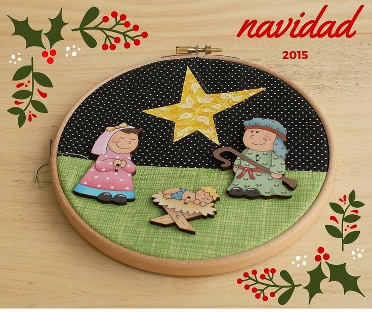 Set de tres botones recreando el portal de Belén, para decorar el patchwork de Navidad. Adquiérelo en Patch Creatures.