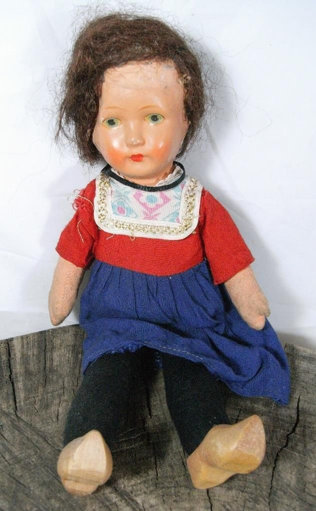 """ANTIQUE - 12"""" CELLULOID (HEAD) DUTCH STYLE DOLL SOFT BODIED WITH WOODEN CLOGS 