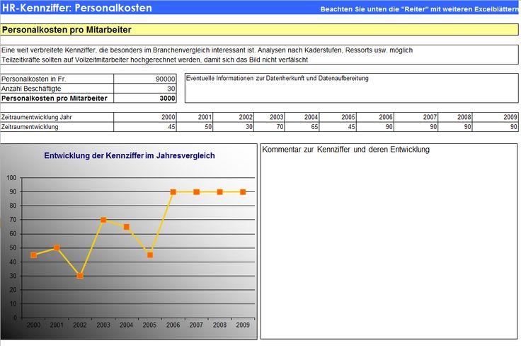 """Excel-Kennziffern-Blatt aus """"Kennzahlen-Handbuch für das Personalwesen""""  Kennzahlen für die HR-Praxis und Umsetzungshilfen mit Interpretations- und Massnahmenvorschlägen und Excelsheet mit Berichtswesen-Vorlagen auf CD-ROM  ISBN: 978-3-9523246-5-3"""
