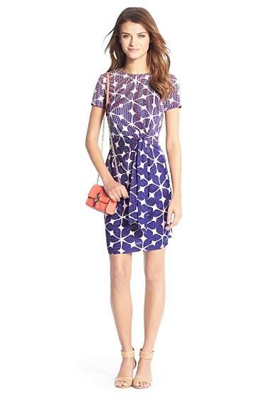Zoe Short Sleeve Silk Jersey Dress In Simple Batik Blue