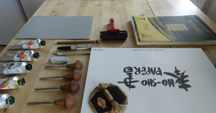 Ellen VW's #tools for her #linocut #prints #printmaking #wip #workinprogress