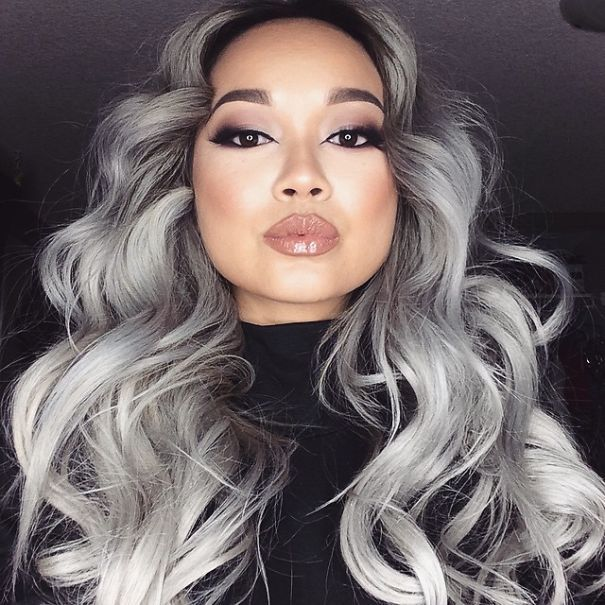 I've had gray hair since I was 17, I embrace it. But I bet these people dye their hair when they actually turn gray. | 'Granny' Hair Trend: Young Women Are Dyeing Their Hair Gray