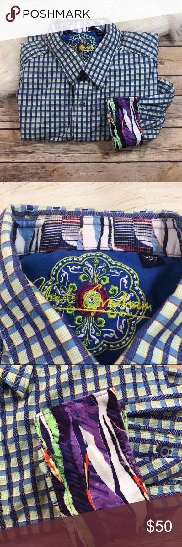 "Robert Graham Plaid & Checks Button Up Dress Shirt Robert Graham Plaid and Checks Button Up Dress Shirt Size XL Size XL Length- 34"" 100% Cotton Smoke free home! Robert Graham Shirts Dress Shirts"